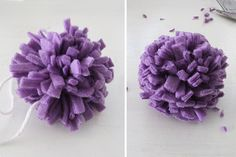 Easy No Sew Fleece Pom Pom. Can make these with multiple colors... I'm going to make ice skate pom poms with little bells!