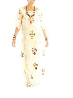 Katrina Mexico boho chic vintage Mexican wedding dress 60s 70s