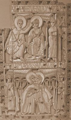 Early 8th century ivory plaque from Genoels-Elderen (present-day Belgium). Although found on the Continent, it may be Anglo-Saxon work.