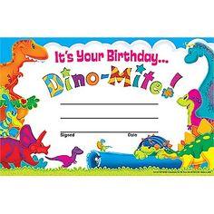 Birthday Dino-mite Award   Certificates