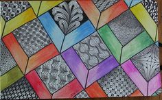 Love the watercolor with the b/w zentangle squares!!
