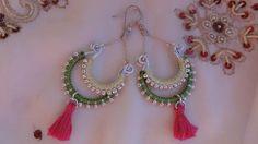 Boucles d'oreilles bollywood collection Holi deux verts et fushia : Boucles d'oreille par bombay-cotons