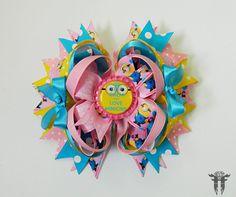 "Keep Calm & Love Minions Despicable Me Hair Bow Clip Pink Yellow Turquoise 6"" #FemmortalFashions"