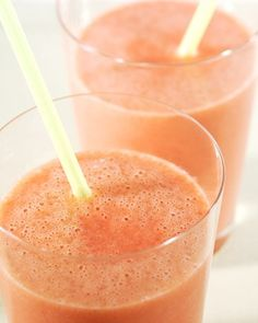 Super Soy Smoothie | 1/2 cup pineapple cubes, 1/2 banana, 1/2 cup frozen raspberries, 1 tablespoon honey, 1/4 cup carrot juice, 1/2 cup vanilla soy milk, 1/2 cup freshly squeezed orange juice