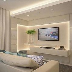Living Room Tv Wall Decor Floating Shelves Tv Cabinets Ideas For 2019 Tv Cabinet Design, Tv Unit Design, Tv Wall Design, Living Room Tv Unit, Living Room Decor, Living Rooms, Tv Wall Decor, Wall Tv, Tv In Bedroom