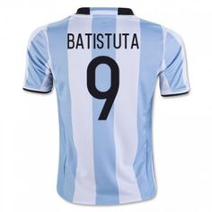 Argentina 2016 Batistuta 9 Hjemmedrakt Kortermet.  http://www.fotballteam.com/argentina-2016-batistuta-9-hjemmedrakt-kortermet.  #fotballdrakter
