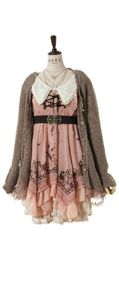 A super girly dress covered with a shapeless, comfortable cardigan. You have to have glasses to pull this look off.