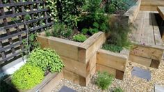 wood planter behind and at end of bench seat, lattice behind