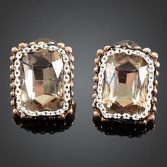 Fashion Oblong Style Yellow Zircon Crystal 18K Gold GP Studs QS0756 | eBay