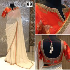 A subtle Cream & orange saree with a delicate border with timeless elegance attire. ONLY available at G3 Sutaria Ghoddod Rd Store,surat. To Shop with Live Video Calling Service appointment or For Instant Price and Queries Whatsapp - +91-9913433322