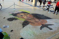 krijt tekening naar Frida Kahlo chalk pastel streetart
