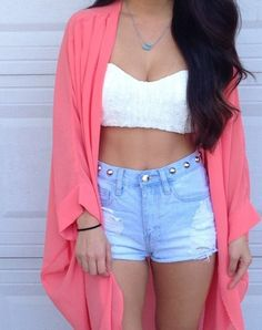 Shorts with pink crop top