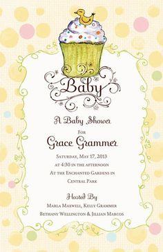 BABY SHOWER INVITATIONS, BABY CUPCAKE, BELLA INK    NEW!