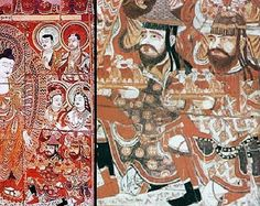 Sogdian in Sassanid style dresses donors to the Buddha - China, 8th century