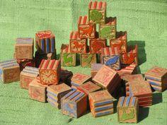 old wooden alphabet blocks