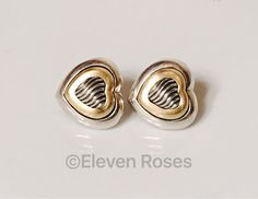David Yurman 925 Sterling Silver 750 18k Yellow Gold Classic Carved Cable Heart Earrings Omega Backs For Pierced Ears by CrackerJackDiamonds on Etsy