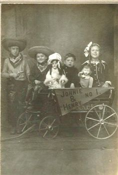 Children with dolls & wagon, ca 1900 | Cowboys by Lauren Jaeger Mikalov on Flickr