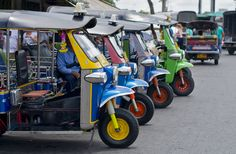 Photo about Thailand s famous open air taxis lined up. Image of thai, taxi, bike - 5824149 Laos, Vietnam, Bangkok Travel Guide, Khao San Road, India Asia, Thai Style, Camping Car, China, New Delhi