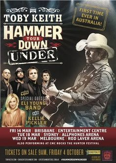 Toby Keith Announces Debut Australian Arena Tour In 2014 With Kellie Pickler & Eli Young Band.  Read: http://frontrownews.com/?p=2797