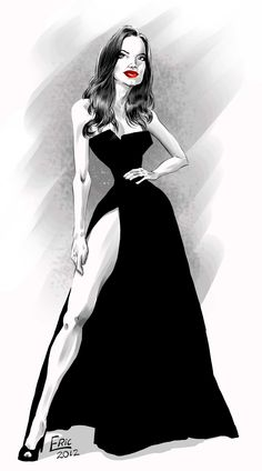 Angelina Jolie at the Oscar. Illustration by Eric Ricardo.  (http://blogdoericricardo.blogspot.com/2012/02/e-por-falar-em-oscar-e-angelina-jolie.html)