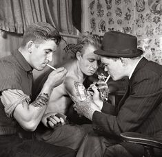 Sailors getting tattooed, 1942.