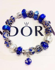 Authentic Pandora charm bracelet cobalt blues w by eurodazzle, $169.00