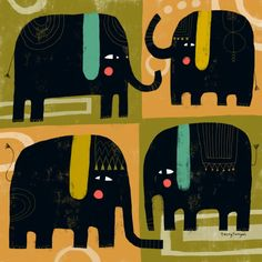 FOUR PACHYDERMY--Terry Runyan Prints, pillow, totes etc:  https://society6.com/product/four-pachydermy_print#1=45