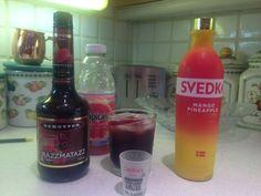 3 shots Svedka Mango Pineapple vodka, 2 shots Raspberry Lemonade Schnapps, fill rest of glass with Grapefruit Juice, preferably fresh-squeezed.