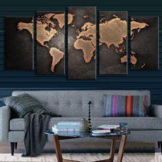 BLACK WORLD MAP PANEL PAINTING