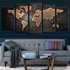 BLACK WORLD MAP PANEL PAINTING