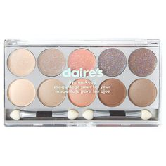 Neutral Glitter and Shimmer Eyeshadow Palette | Claire's (466.900 IDR) ❤ liked on Polyvore featuring beauty products, makeup, eye makeup, eyeshadow and palette eyeshadow