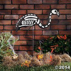 Skeleton Flamingo Yard Stake