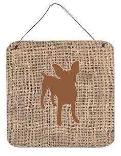 Chihuahua Burlap and Brown Aluminium Metal Wall or Door Hanging Prints BB1108