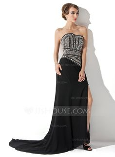 Evening Dresses - A-Line/Princess Scalloped Neck Court Train Chiffon Evening Dress With Beading Split Front