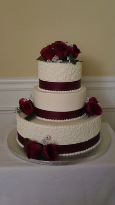 Elegant Buttercream And Maroon Scrolls  on Cake Central