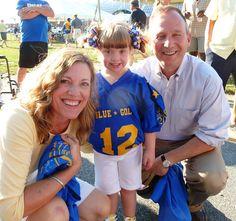 Secretary Landgraf and Gov. Markell meet Kayla Kosmalski, the Blue All-Star Buddy, at the June 23 DFRC Blue-Gold All-Star Football Game.
