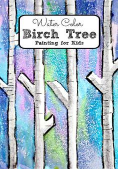 Easy Water Color Birch Tree Painting with Kids. A colorful winter art idea to create with kids for winter or Christmas.