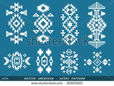 Native American - Azted vector pattern on blueboard Tribal Patterns, Graphic Patterns, Tribal Prints, Print Patterns, Native American Patterns, Native American Design, Aztec Designs, Geometric Designs, Motifs Aztèques