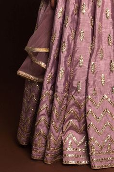 Dusky Orchid gotawork lehenga paired with mirror work blouse (unstitched) and sheer net dupatta. Indian Dresses, Indian Outfits, Wedding Lehenga Designs, Bollywood Designer Sarees, Bollywood Dress, Muslimah Wedding Dress, Rajputi Dress, Indian Designer Outfits, Designer Dresses