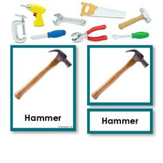 Tools 3 Part Cards with Objects