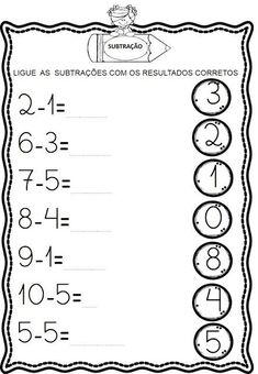 Atividades de Subtração Kindergarten Math Worksheets, Alphabet Worksheets, Toddler Learning Activities, Math Activities, Math Subtraction, Preschool Writing, Reading Comprehension Worksheets, Math For Kids, Kids And Parenting