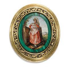 Raro antico Micro mosaico Spilla oro, Rom a 1820 / Campagna Tracht