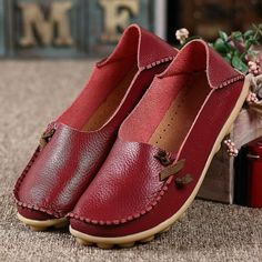 5f05dcd60b Big Size Comfortable Soft Casual Leather Multi-Way Flat Shoes