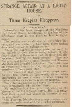 Newspaper story about the mysterious disappearance of the crew at the Flannan Isles Lighthouse