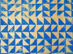 Linocut blue geometric giftwrap by HandPrintedByDavid on Etsy