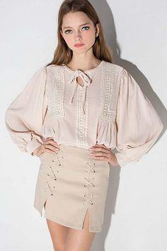 5effa567b Pink Crochet Decor Puff Sleeve Retro Chiffon Top. Vintage TopsVintage ...