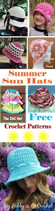 Crochet summer sun hats free crochet pattern roundup from #crochetncreate #freecrochetpatterns #crochetsunhats
