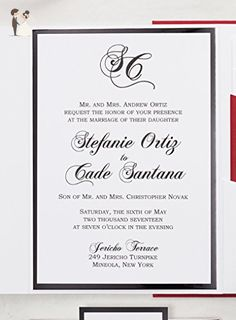Long beach queen mary skyline wedding invitations package sold in black red and white glitter wedding invitation black and red wedding invitation set fancy stopboris Gallery