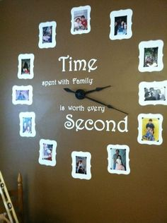 Time spent with family is worth every second |  Easy DIY and budget friendly | upstyle your home Family Clock, Family Wall Art, Family Room, Photo Clock, Picture Clock, Picture Wall, Picture Ideas, Photo Ideas, Picture Frames