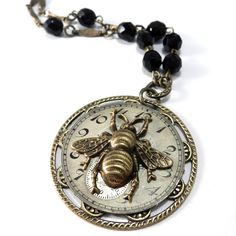 Steampunk Necklace, Clockwork Necklace - Antique Watch Dial - Gold Honey Bee Edwardian Insect Jewelry by Compass Rose Design